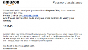 Amazon Reset Password Alert