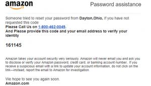 Amazon Reset Password Alert